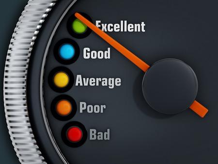compteur de vitesse: niveaux Excellence Speedmeter avec l'aiguille pointée excellente