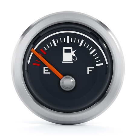 Fuel gauge with orange needle pointing empty