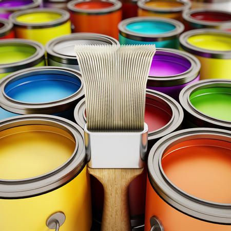 paint cans: Paintbrush and multicolored paint cans Stock Photo