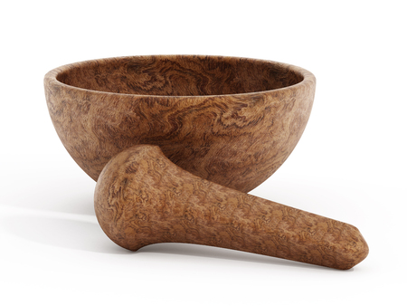 pestel: Wooden pestle and mortar isolated on white background