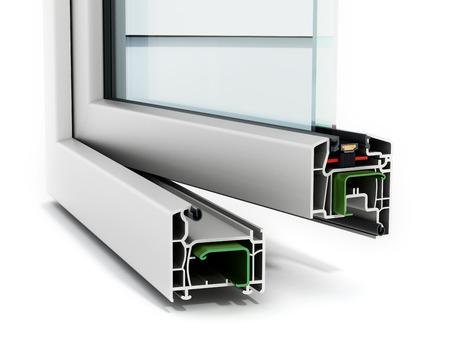 白い背景に分離された PVC ウィンドウ詳細 写真素材
