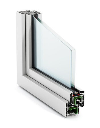 PVC venster detail op een witte achtergrond