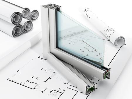 Okno PCV szczegółów na białym tle