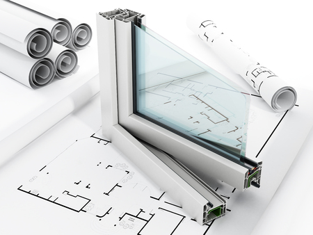 ventanas abiertas: PVC detalle de la ventana aislada en el fondo blanco