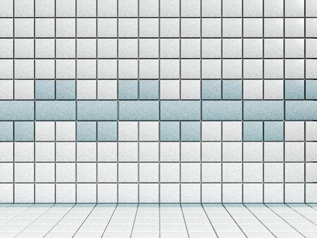 Bianco e piastrelle del bagno blu.