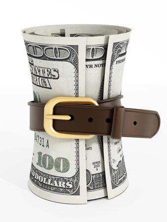 leather belt: Tight belt around 100 dollar money bills isolated on white background Stock Photo
