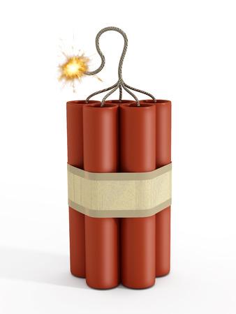 dinamita: Dinamita con una mecha encendida aislado en fondo blanco.