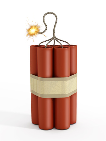fuse: Dynamite with a burning fuse isolated on white background.