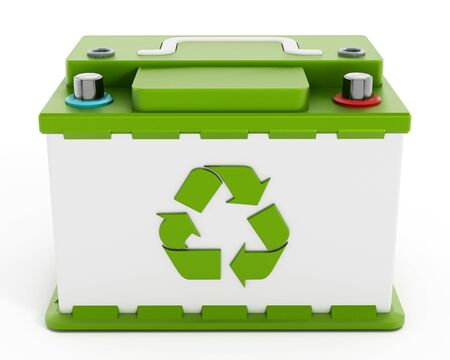 reciclable: Batería reciclable coche aislado en el fondo blanco