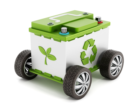 Recyclable car battery with tyres isolated on white background Archivio Fotografico