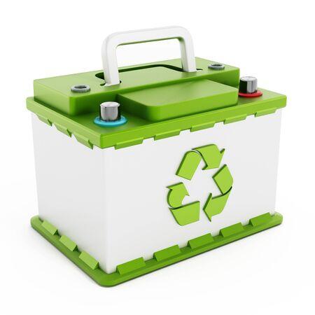 reciclable: Bater�a reciclable coche aislado en el fondo blanco