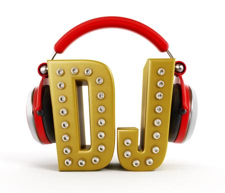 dj headphones: Red headphones on gold DJ word isolated on white background.