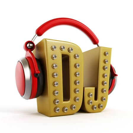 auriculares dj: Red headphones on gold DJ word isolated on white background.