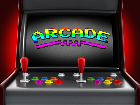 games: Vintage arcade machine with two joysticks and push buttons for people.