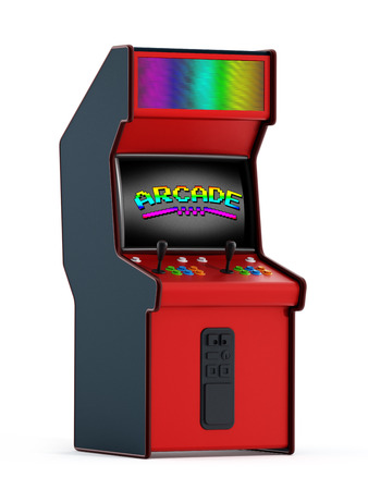 push people: Vintage arcade machine with two joysticks and push buttons for people.