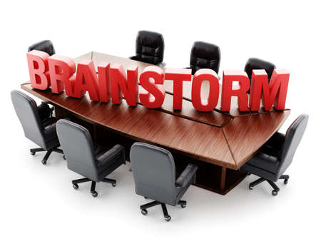 boardroom: Boardroom table with red brainstorm text isolated on white background Stock Photo