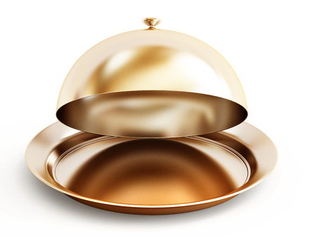 food tray: Gold serving plate isolated on white background