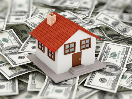 House standing on 100 dollar pile Stock Photo - 51012844