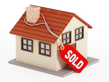 sold isolated: House with sold tag isolated on white background.