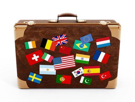 valise voyage: drapeaux de pays sur valise isolé sur fond blanc. Banque d'images