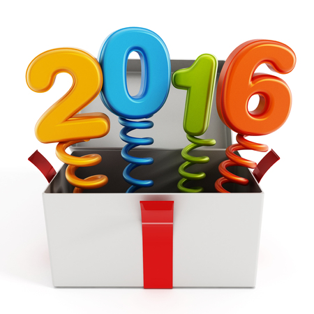 popping out: Number 2016 popping out of the giftbox isolated on white background.