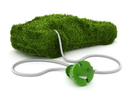 grass texture: Green car covered with grass texture connected to the electric plug. Stock Photo