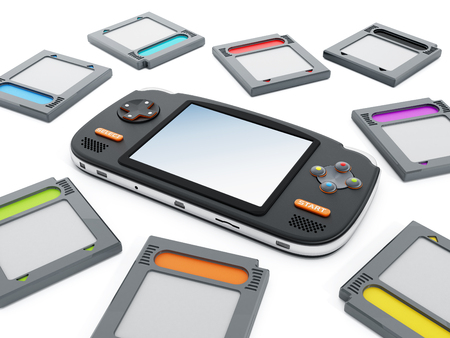 handheld device: Handheld video game device and retro game cartridges.