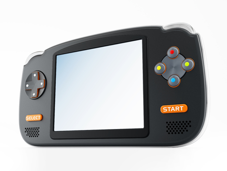 nintendo: Retro handheld video game device isolated on white background