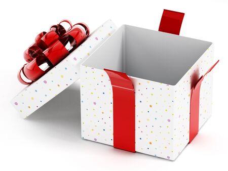 giftboxes: Open giftbox isolated on white background. Stock Photo