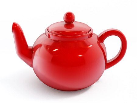 teapot: Red porcelain teapot isolated on white background.