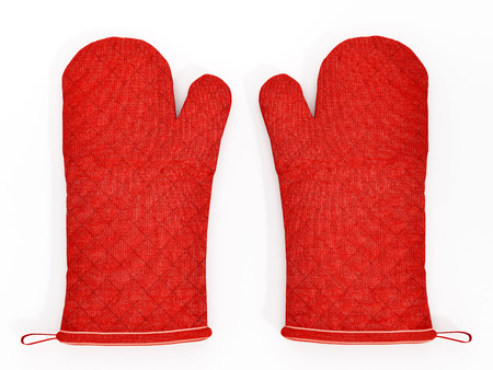 red kitchen: Red kitchen gloves isolated on white background.