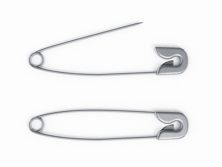 Open and closed safety pin isolated on white background