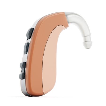 ayuda oído o prótesis de oído aislados en el fondo blanco