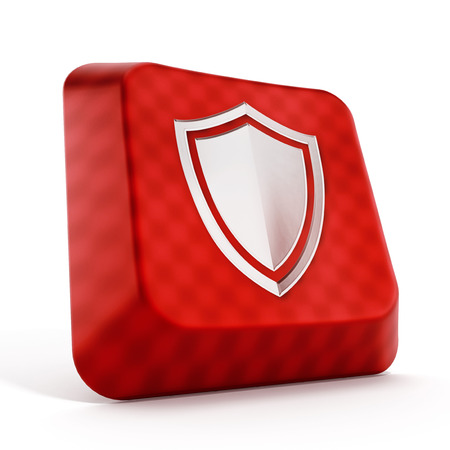Shield icon on red computer key isolated on white background