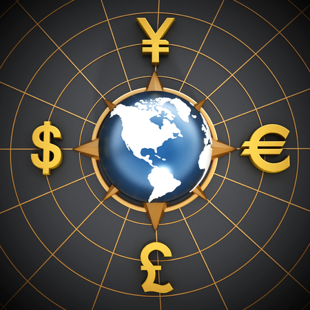 libra esterlina: Dólar, euro, yen y libra símbolos de todo el globo azul