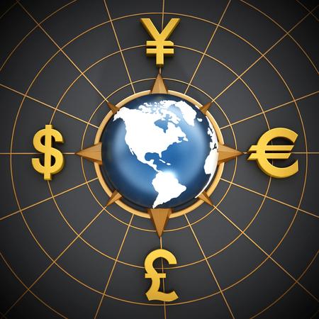 dollaro: Dollaro, euro, yen e sterlina simboli in tutto il mondo blu Archivio Fotografico
