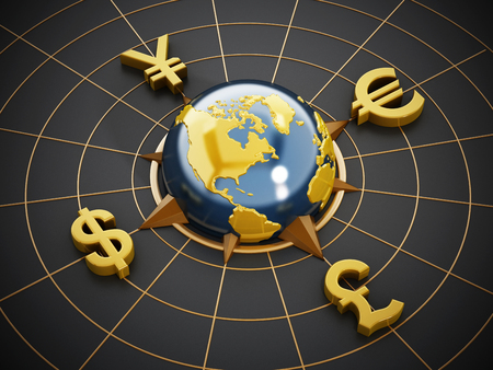 global finance: Dollar, Euro, Yen and Pound symbols around the blue globe Stock Photo