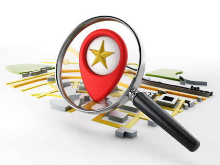street symbols: Magnifying glass on the red marker standing on navigation map.