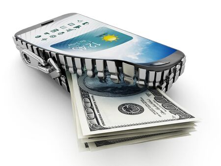 coming out: 100 dollar bills coming out of the smartphone which is opened by a zipper. Stock Photo