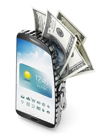 100 dollar bills coming out of the smartphone which is opened by a zipper. Stock Photo