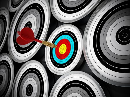 hit: Red Dart hit right at the middle of the small target. Stock Photo