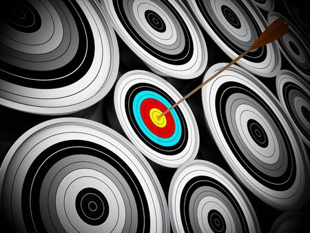 aim: Red Dart hit right at the middle of the small target. Stock Photo