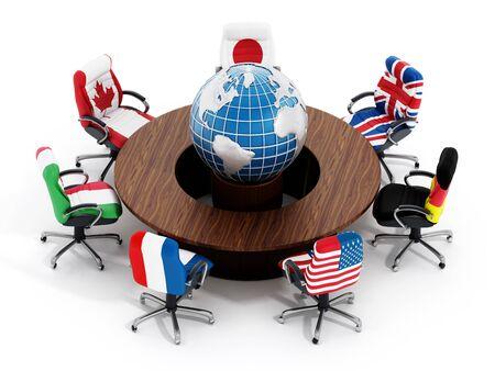 banderas del mundo: banderas de los países del G-7 en las sillas de oficina alrededor de la mesa WTH el mundo aislado en el fondo blanco Foto de archivo