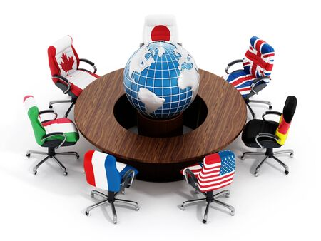 flags of the world: G7 country flags on office chairs around table wth globe isolated on white background Stock Photo