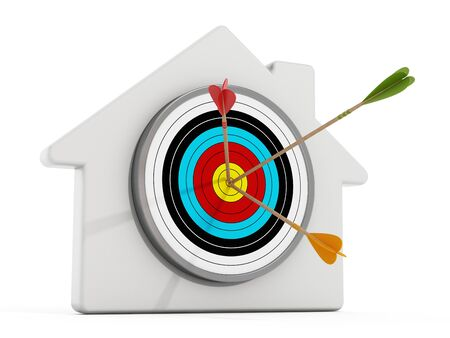 home finances: Target with arrows at the middle of of it standing on white house shape.