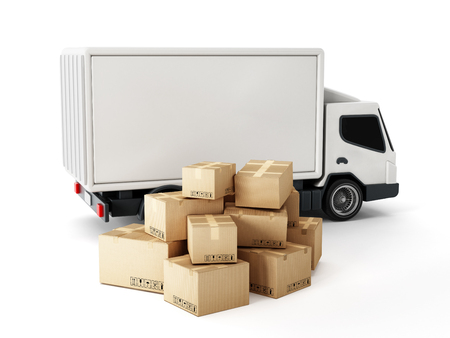 white boxes: Transport truck with cardboard boxes isolated on white background