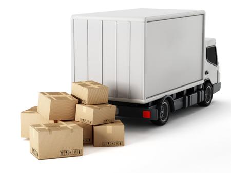 camion de transport avec des boîtes en carton isolé sur fond blanc