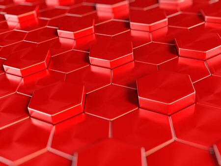 red abstract: Abstract hexagonal background formed with white, yellow and red hexagon shapes.