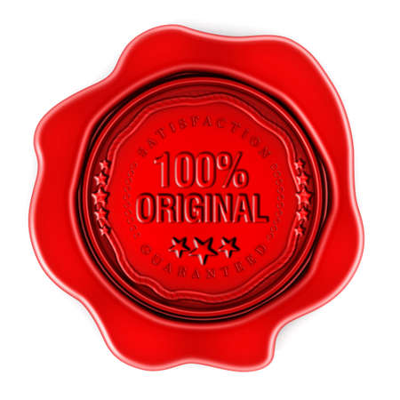 originality: Red wax seal with 100 percent original text isolated on white background