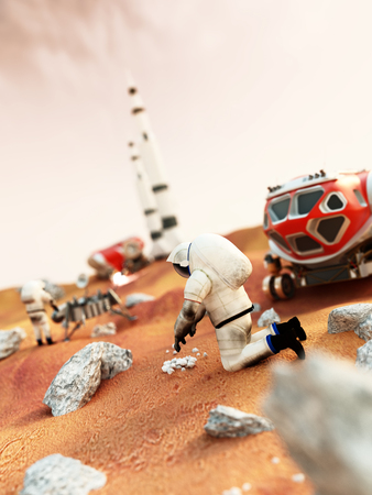 manned: Fictitious scene including vehicles and astronauts depicts manned Mars mission Stock Photo